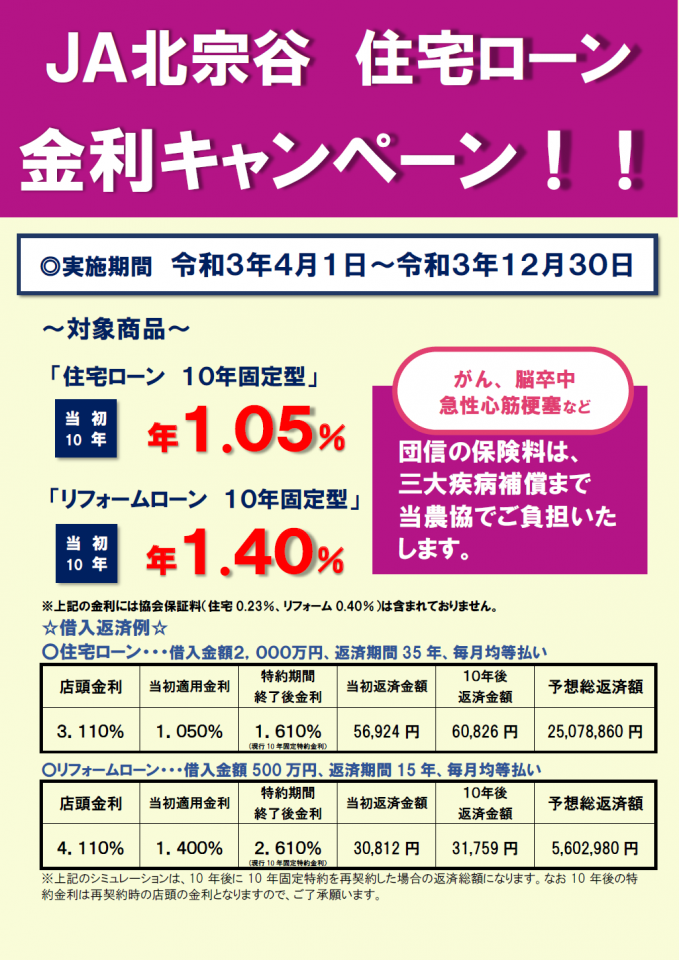 JA北宗谷住宅ローン金利キャンペーン開催